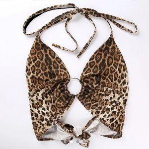 Tops - Cropped Leopard Halter Top